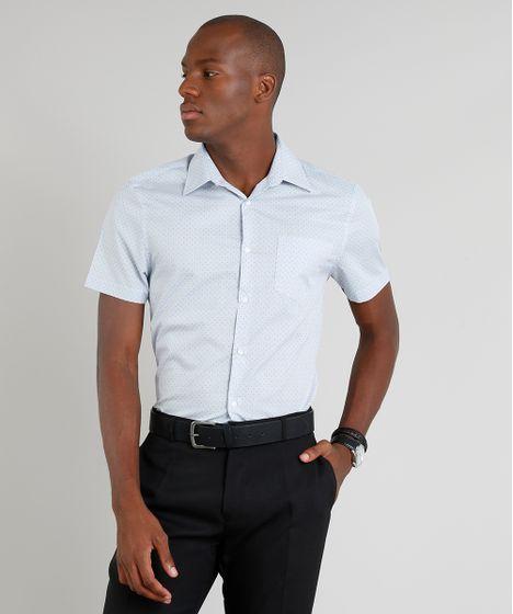 2460df329 Camisa Masculina Comfort Estampada Mini Print com Bolso Manga Curta ...