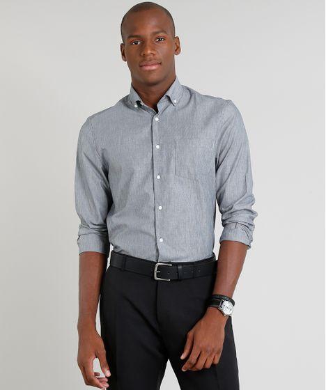 9bf729fdab Camisa Masculina Comfort Listrada com Bolso Manga Longa Cinza - cea