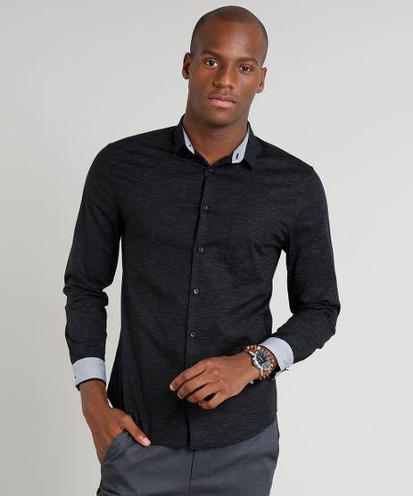 Camisa-Masculina-Slim-com-Bolso-Manga-Longa-Preta-9089560-Preto_1
