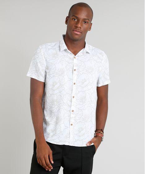 99c73f926 Camisa-Masculina-Estampada-Floral-Manga-Curta-Branca-9312051- ...