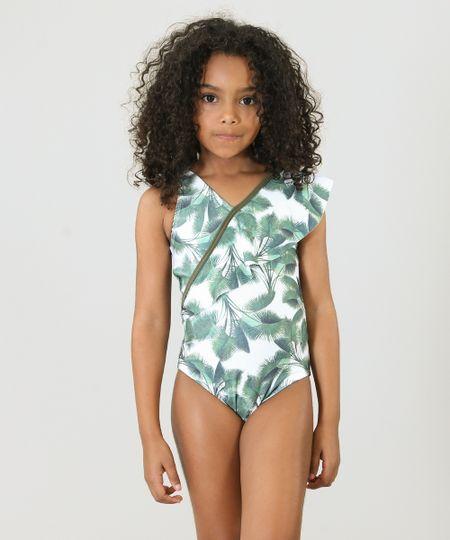 6a96aa212 Maiô Infantil Água de Coco Tal Mãe Tal Filha Estampado Palmeira com Babado  Proteção UV50+ Off White