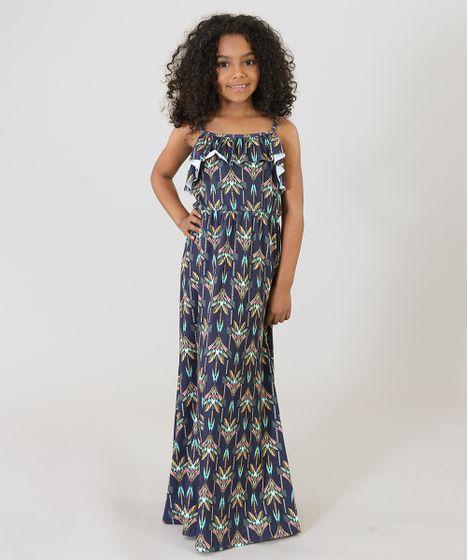 Vestido azul royal infantil longo