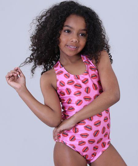 dcb2314f4 Menor preço em Maiô Infantil Triya Tal Mãe Tal Filha Estampado Bocas com  Proteção UV50+ Pink