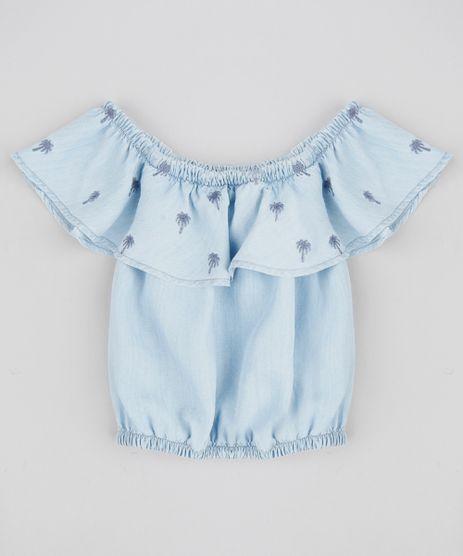 Blusa-Ciganinha-Jeans-Infantil-com-Bordado-de-Coqueiros-Azul-Claro-9364997-Azul_Claro_1