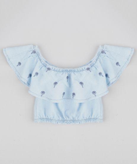 Blusa-Ciganinha-Jeans-Infantil-com-Bordado-de-Coqueiros-Azul-Claro-9364998-Azul_Claro_1