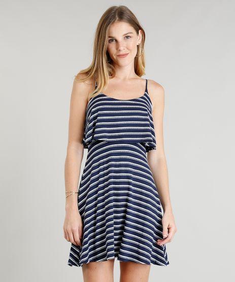 Vestido-Feminino-Curto-Evase-Listrado-com-Sobreposicao-Alcas-Finas-Azul-Marinho-9299016-Azul_Marinho_1