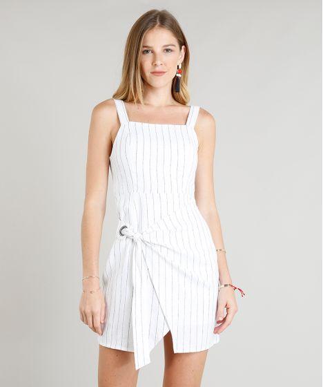 2eef7e256 Vestido Feminino Estampado Risca de Giz Em Linho com Ilhós Off White ...