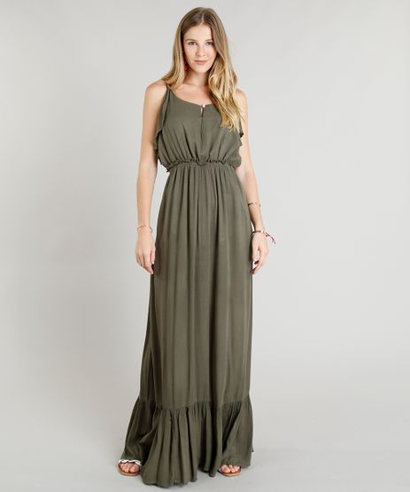 Vestido-Longo-Feminino-com-Babados-Verde-Militar-9252479- 80fa9eb4d2d9b