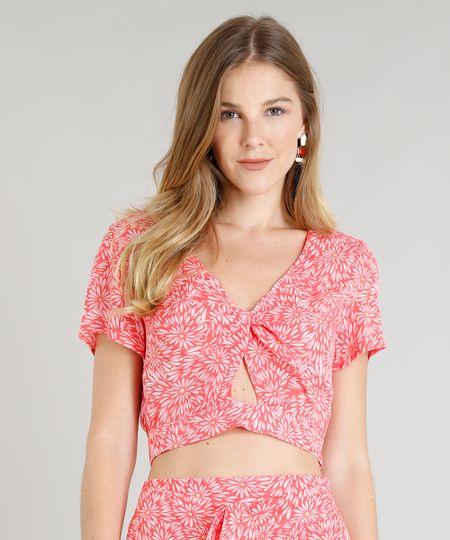 118562c469 Blusa Feminina Cropped Estampada Floral com Nó Manga Curta Decote V Coral