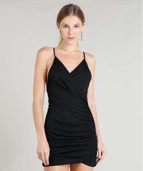 8824db073 Vestido Feminino Curto Canelado Transpassado Alça Fina Decote V ...
