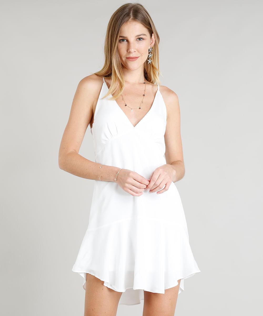 74e09e0aef Vestido Feminino Decote V Curto com Recortes Branco - cea