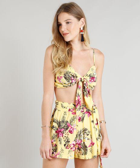 Top-Cropped-Feminino-Estampado-Floral-com-No-Alcas-Finas-Amarelo-9384248-Amarelo_1