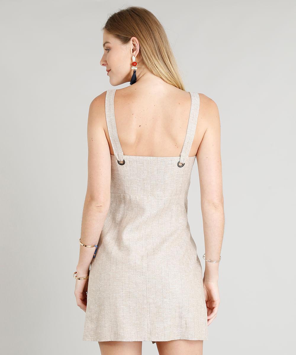 f73ff0bf1d Vestido Feminino Risca de Giz Em Linho com Ilhós Off White - cea