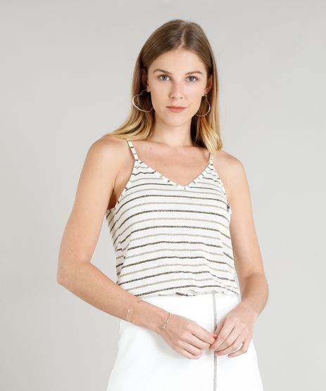 Regata-Feminina-Listrada-com-Lurex-e-Pingente-Sorte-Decote-V-Branca-9342382-Branco_1