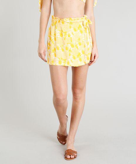 Short-Saia-Feminino-Estampado-de-Abacaxi-Curto-Amarelo-9234502-Amarelo_1