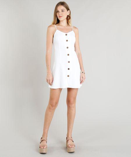 64d21596cf Vestido Feminino Curto com Linho com Botões Branco - cea