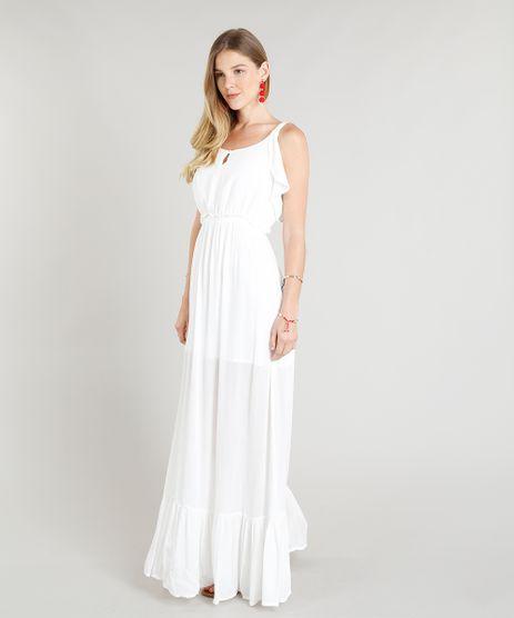 82fcb97577 Vestido-Longo-Feminino-com-Babados-Branco-9252479-Branco 1