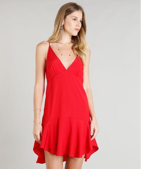 51babd26d5 Vestido Feminino Decote V Curto com Recortes Vermelho - cea