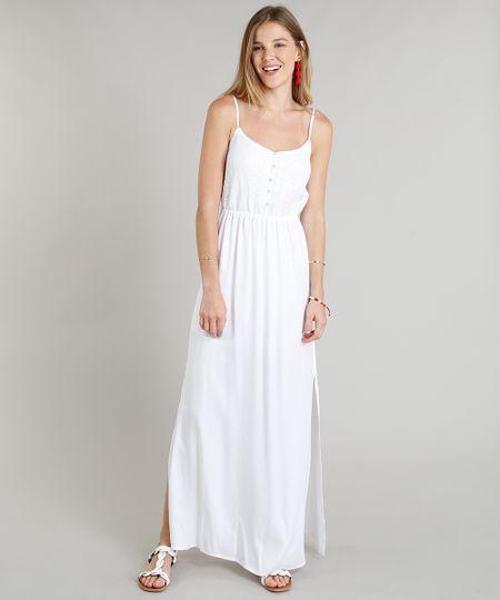 c1ba048323 Menor preço em Vestido Longo Feminino com Renda e Fendas Branco