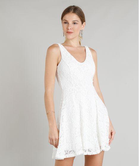 e2f87cc8cd Vestido Feminino Curto Evasê em Renda Decote V Off White - cea