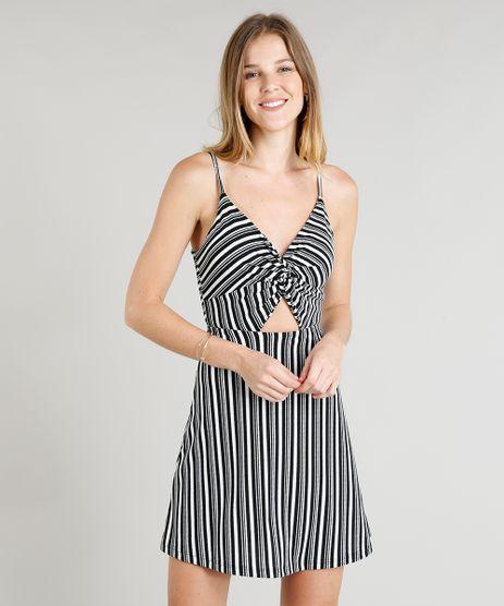 Vestido-Feminino-Evase-Curto-Listrado-com-Vazado-Alcas-Finas-Decote-V-Preto-9336438-Preto_1