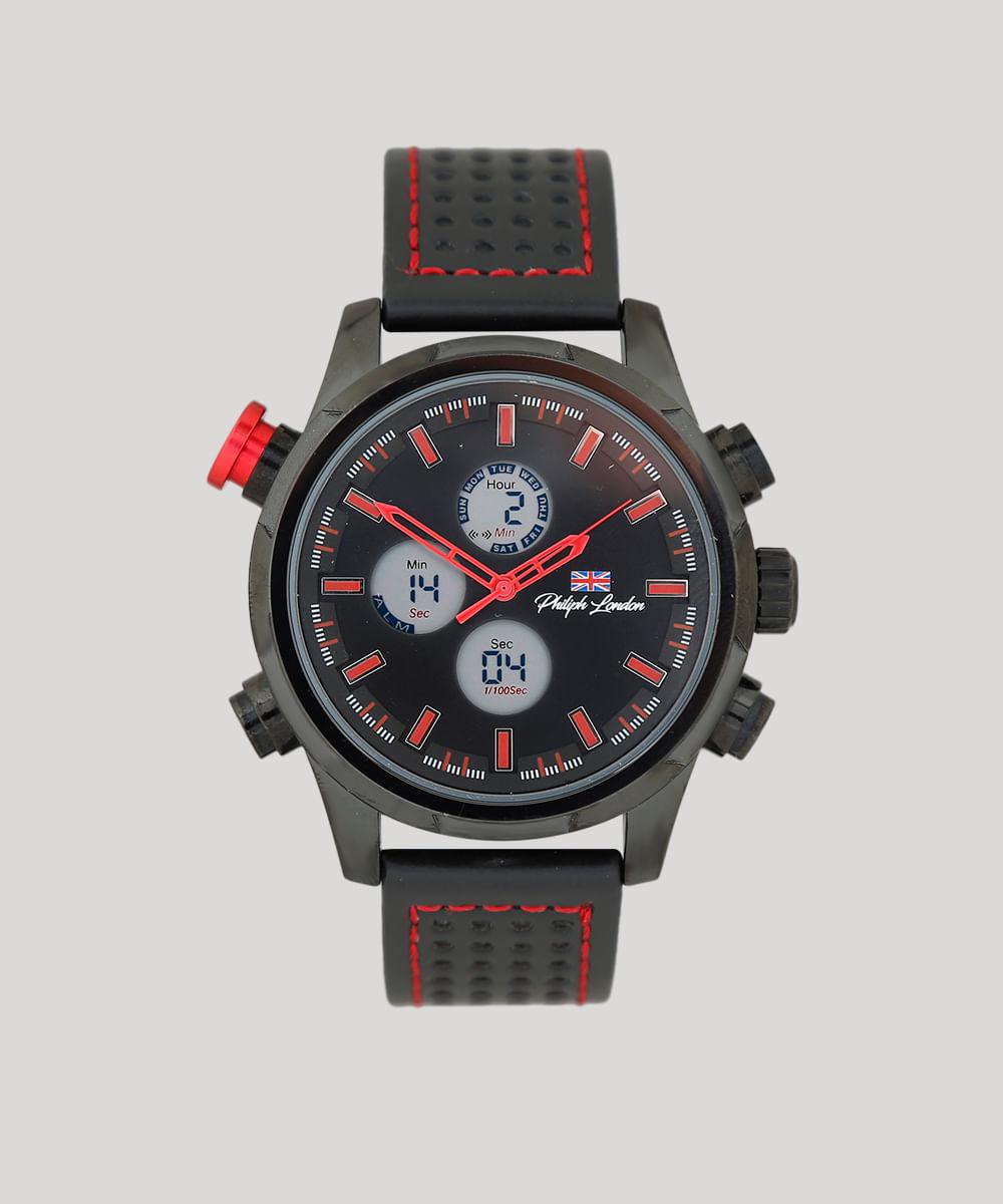 a6648e0d91d Relógio Cronógrafo Philiph London Masculino - PL80061312M Preto - cea