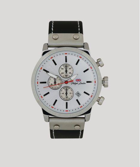eec9daaf3f7 Relógio Cronógrafo Philiph London Masculino - PL80066622M Prateado - cea