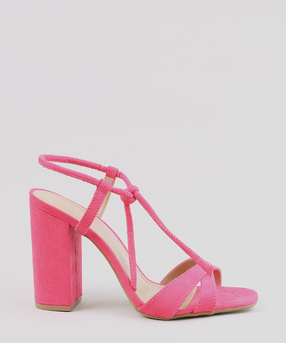 57c425e61 Sandália Feminina Salto Alto com Nó em Suede Pink - cea