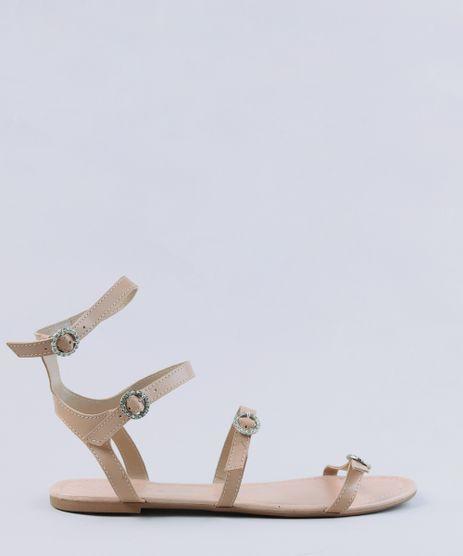 Rasteira-Gladiadora-Feminina-com-Fivelas-de-Strass-Bege-Claro-9325535-Bege_Claro_1