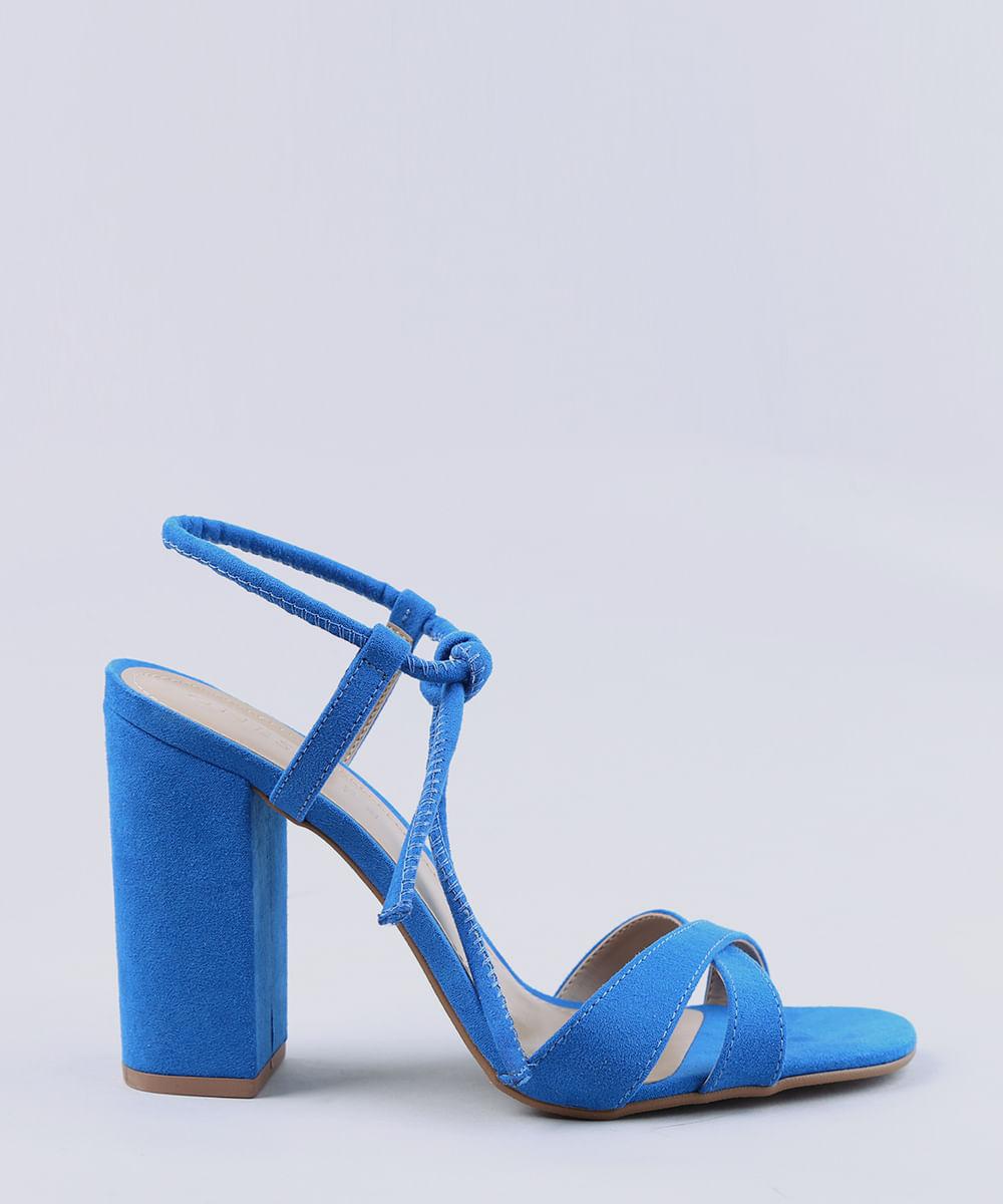 ead6ddcb7 Sandália Feminina Salto Alto com Nó em Suede Azul Royal - cea