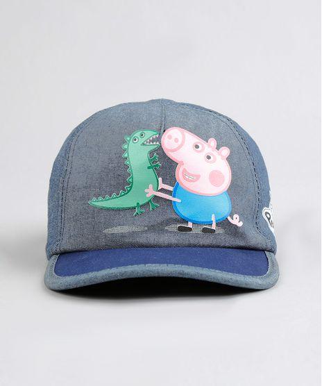 Bone-Infantil-Aba-Curva-George-Pig-em-Jeans-Azul-9287839-Azul_1