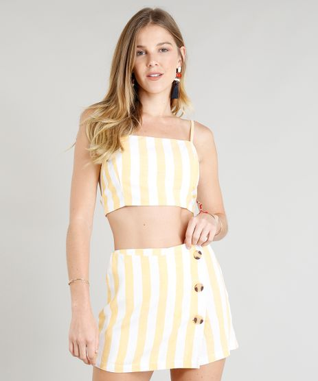 Top-Cropped-Feminino-Listrado-em-Linho-com-No-Amarelo-9252477-Amarelo_1
