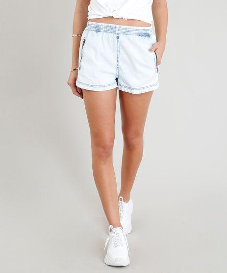 Short-Jeans-Feminino-Running-com-Ziper-no-Bolso-Azul-Claro-9370013-Azul_Claro_1