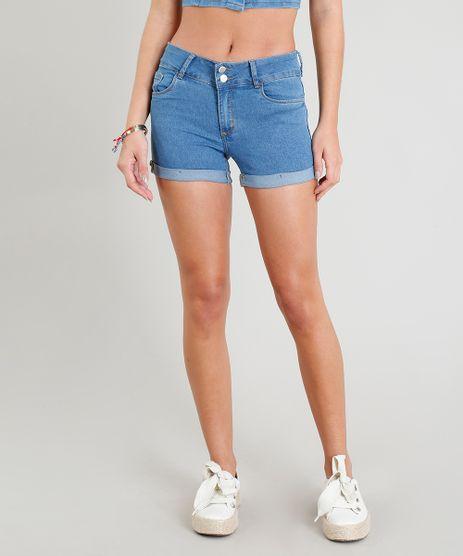 Short-Jeans-Feminino-Reto-com-Bolsos-e-Barra-Dobrada-Azul-Medio-9346416-Azul_Medio_1