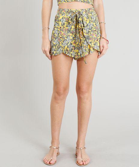 Short-Feminino-Estampado-Floral-com-Sobreposicao-Amarelo-9256663-Amarelo_1