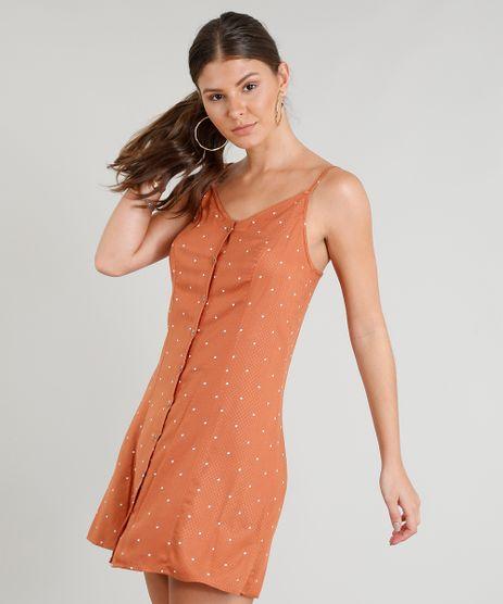 Vestido-Feminino-Estampado-de-Poa-Curto-com-Alcas-Finas-Cobre-9256666-Cobre_1