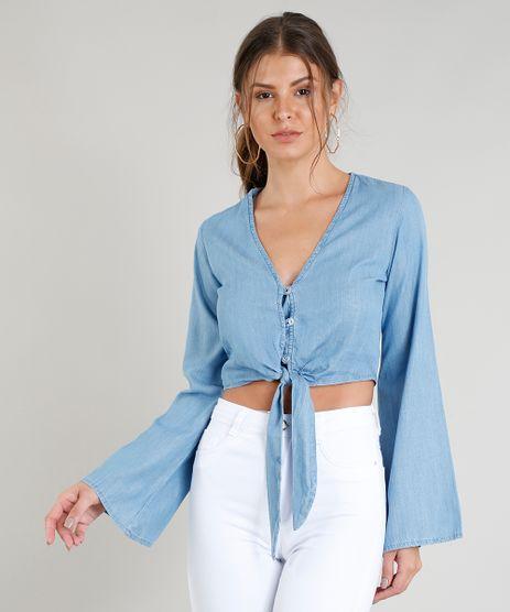 Blusa-Jeans-Feminina-Cropped-com-No-e-Botoes-Manga-Longa-Decote-V-Azul-Claro-9372327-Azul_Claro_1