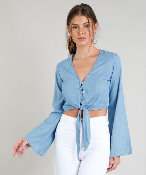 Blusa Jeans Feminina Cropped com Nó e Botões Manga Longa Decote V ... 32d21c17e2b94