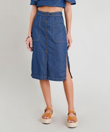 Saia-Jeans-Feminina-Midi-com-Botoes-e-Fendas-Azul-Medio-9365658-Azul_Medio_1