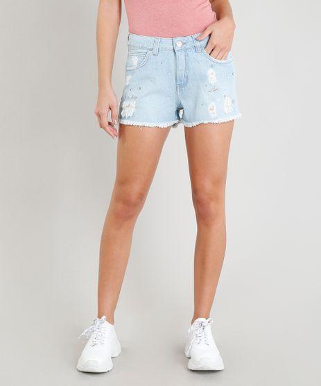 Short-Jeans-Feminino-Boy-Destroyed-com-Bordado-de-Brilho-e-Barra-desfiada-Azul-Claro-9365662-Azul_Claro_1