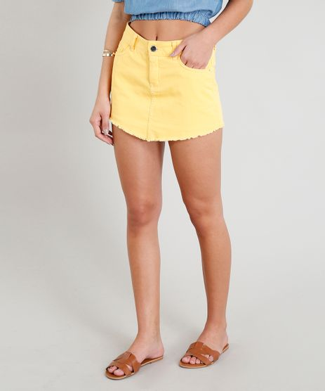 Short-Saia-Feminino-com-Bolsos-e-Barra-Desfiada-Amarelo-9352650-Amarelo_1