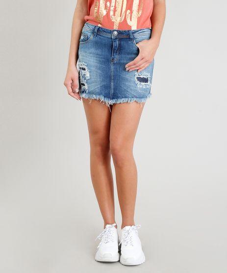 Saia-Jeans-Feminina-Curta-Destroyed-com-Barra-Desfiada-Azul-Escuro-9370008-Azul_Escuro_1