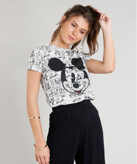 12e7267a5 Blusa Feminina Estampada Mickey Manga Curta Decote Redondo Branca - cea
