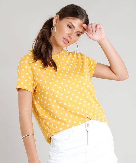 3b830231c Menor preço em Blusa Feminina Estampada de Poás Manga Curta Decote Redondo  Mostarda