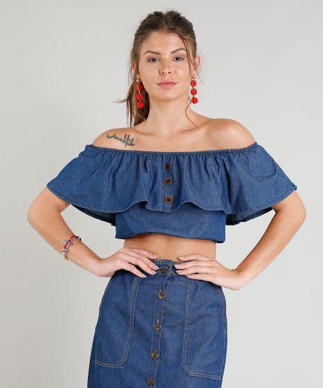 Blusa-Jeans-Ciganinha-Feminina-Cropped-Manga-Curta-Azul-Escuro-9372318-Azul_Escuro_1