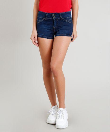 Short-Jeans-Feminino-Pull-Up-com-Bolsos-Azul-Escuro-9352645-Azul_Escuro_1
