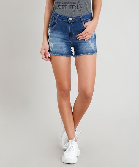 6472d0ab2 Short Jeans Feminino Sawary Pull Up Destroyed com Cintura Alta e ...
