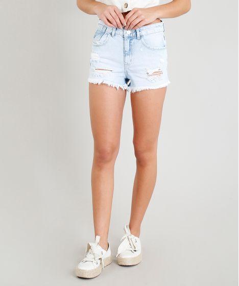 e9043468d Short Jeans Feminino Relax Destroyed com Faixa Lateral com Brilho ...