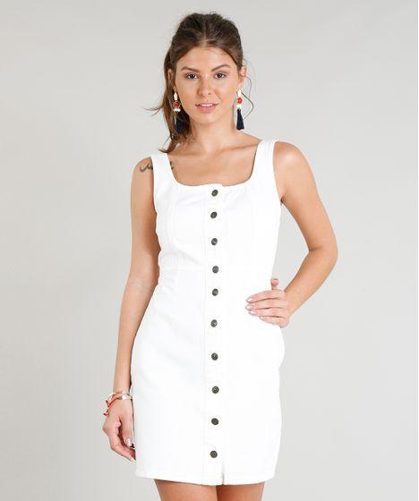 cfb240996 Vestido de Sarja Feminino Curto com Botões Decote Redondo Off White ...