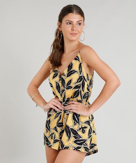 Macaquinho-Feminino-Estampado-Floral-Curto-com-Alcas-Finas-Amarelo-9262800-Amarelo_1